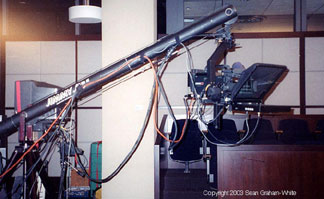 Camera mount teleprompter on a JimmyJib - American Justice